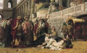 Néron assistant au supplice d'une martyre chrétienne.