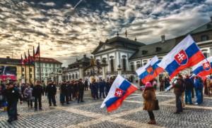 manifestation devant la présidence slovaque, au palais Grassalkovich de bratislava