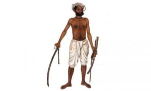 Kala au sabre tiré, détail d'une miniature indienne, 1816.