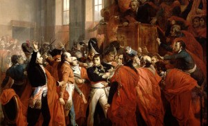 Coup d'État des 18-19 brumaire an VIII. François Bouchot, Le général Bonaparte au Conseil des Cinq-Cents, à Saint-Cloud. 10 novembre 1799.
