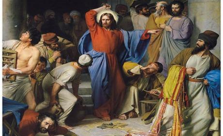 Dans le Temple, Jésus trouva installés dans le Temple les marchands de boeufs, de brebis et de colombes, et les changeurs. Il fit un fouet avec des cordes, et les chassa tous du Temple ainsi que leurs brebis et leurs boeufs ; il jeta par terre la monnaie des changeurs, renversa leurs comptoirs.