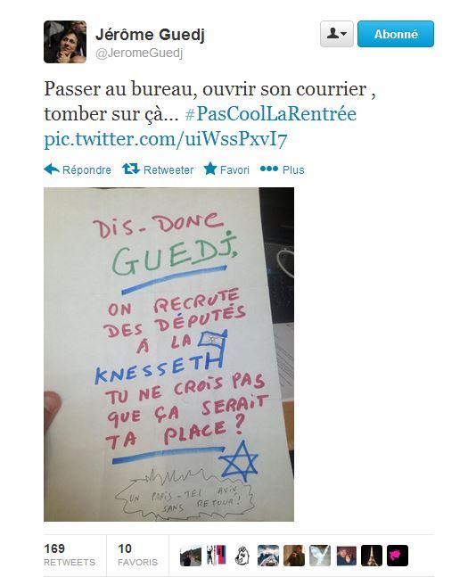 tweet guedj antisemitisme
