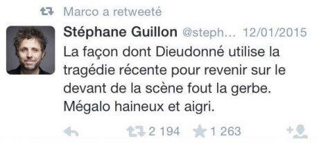 Tweet Stéphane Guillon Dieudonné