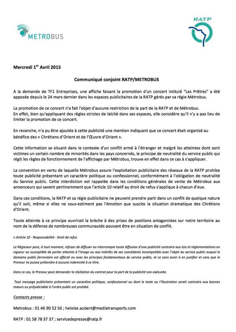 RATP Chrétiens d'Orient concert Les Prêtres