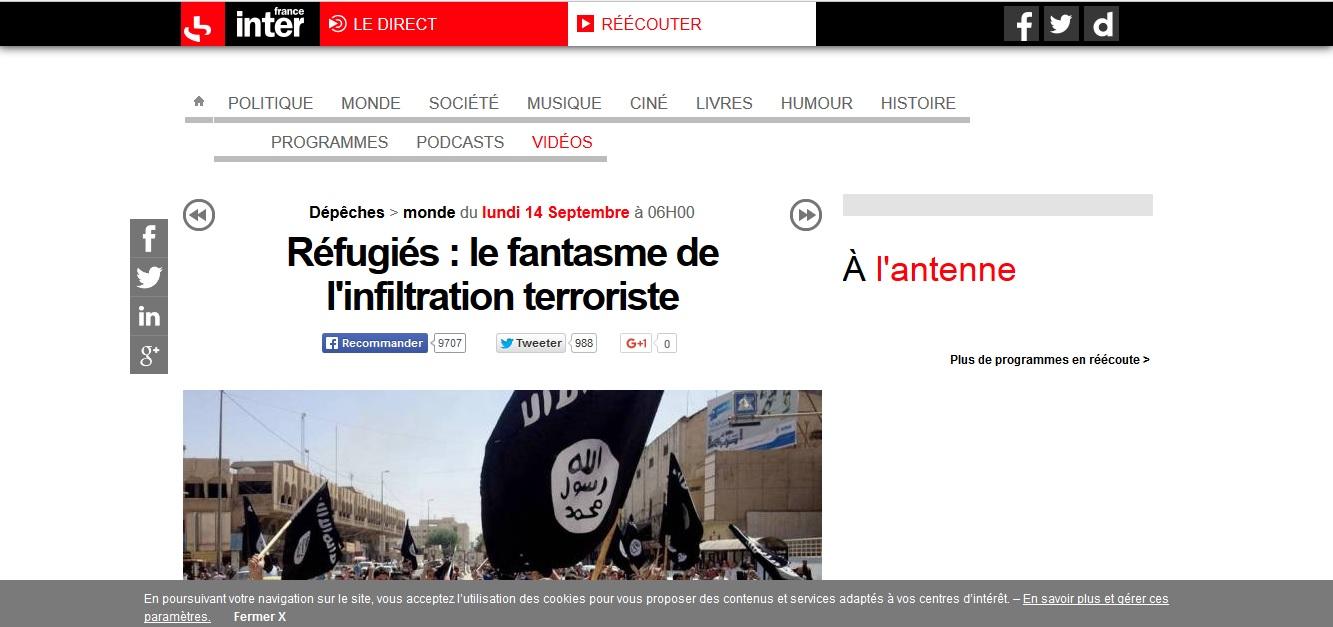 réfugiés terroristes France Inter