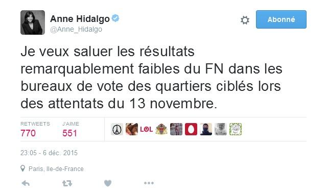 tweet Anne Hidalgo