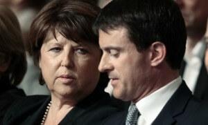 Martine Aubry et Manuel Valls lors d'un meeting à Lille, durant la campagne des européennes (Photo : SIPA.00683605_000007)