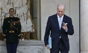 Laurent Fabius à l'issue de son dernier conseil des ministres à l'Elysée (Photo : SIPA.AP21855821_000005)