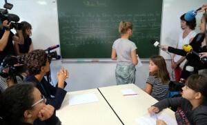 Visite d'une école dans le département du Nord par Najat-Vallaud Belkacem (Photo : SIPA.00721215_000029)