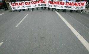 Manifestation contre le CPE en février 2005 à Lyon (Photo : SIPA.00523065_000017)