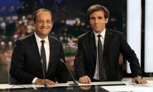 François Hollande et David Pujadas en mai 2015 (Photo : SIPA.00638032_000012)