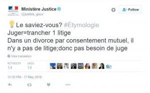 Tweet du ministère de la justice