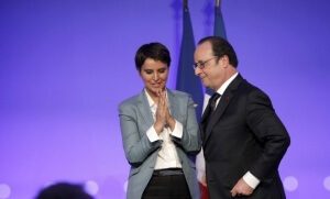 Najat Vallaud-Belkacem et François Hollande lors des journées de la «refondation de l'Ecole de la République» (Photo : SIPA.00754085_000001)