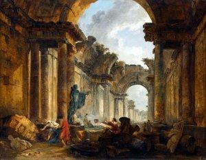 «Vue imaginaire de la Grande galerie du Louvre en ruines», 1796.