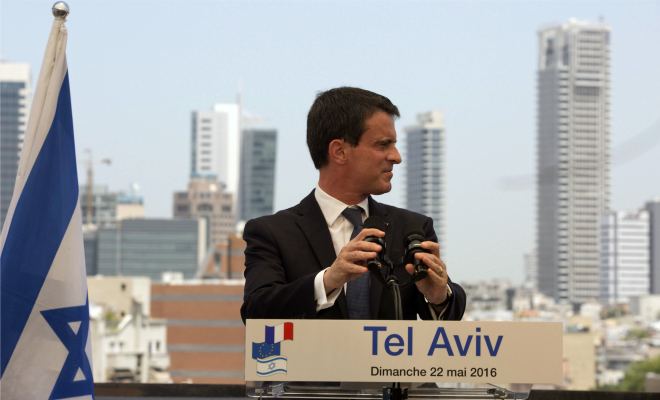 Manuel Valls à Tel Aviv, le 22 mai (Photo : SIPA.00756738_000003)