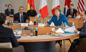 Obama lors de la réunion du G5 à Hanovre (Photo : SIPA.AP21887029_000002)