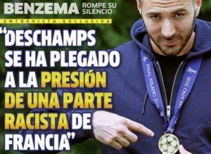 """La couverture du journal espagnol """"Marca"""" dans lequel Karim Benzema """"rompt le silence"""" qu'il aurait sans doute mieux fait de garder..."""