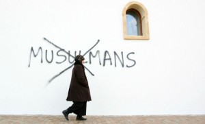 Image d'illustration : un tag sur la mosquée de Saint-Etienne en 2010 (Photo : SIPA.00593406_000019)