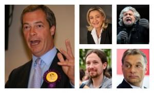 Nigel Farage, Marine Le Pen, Beppe Grillo, Pablo Iglesias,Viktor Orban