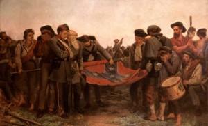 Les soldats confédérés roulant leur drapeau après la capitulation du général Lee à Appomatox, peinture de Richard Norris Brooke, 1872. SIPA. 00410546_000012