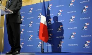 L'ombre de François Fillon à la Maison de la Chimie à Paris, novembre 2016. SIPA. 00782992_000011