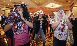 A Las Vegas, des Américains fêtent l'élection de Donald Trump, novembre 2016. SIPA. AP21974039_000028