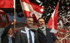 Norbert Hofer et Heinz Christian Strache, les deux principaux visages du FPÖ lors d'un meeting à Vienne, octobre 2016. SIPA. AP21982648_000004