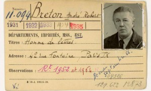 La carte de bibliothèque d'André Breton. @BNF