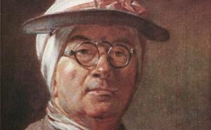 """Détail de l'""""Autoportrait à l'abat-jour et aux lunettes"""" de Jean-Siméon Chardin (Wikipédia)"""