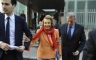Liliane Bettencourt et son petit-fils Jean-Victor Meyers à Paris, mars 2012. SIPA. 00634937_000001