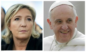 marine lepen fn pape francois