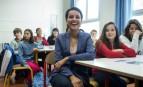 Najat Vallaud-Belkacem au collège Roland Dorgelès à Paris, octobre 2016. SIPA. 00775666_000025