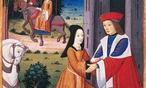 """Scène galante, miniature tirée d'""""Yvain ou le chevalier au lion"""", Chrétien de Troyes, XIVe siècle"""