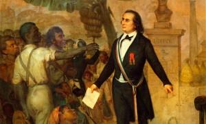 L'Emancipation à la Réunion, Alphonse Garreau, 1849. Emblématique de la construction iconographique républicaine, ce tableau donne à voir une représentation héroïsée de la déclaration publique du décret d'abolition de l'esclavage par Sarda-Garriga, commissaire général de la République à la Réunion.