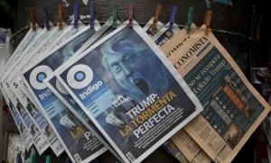 """Une d'un journal méxicain: """"Trump, la tempête idéale"""", novembre 2016. SIPA. AP21974737_000001"""