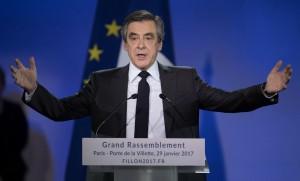 François Fillon lors de son discours de campagne à Paris, 29 janvier 2017. SIPA. 00790976_000007