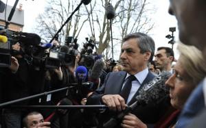 François Fillon face aux médias à Compiègne, février 2017. SIPA. 00793795_000038