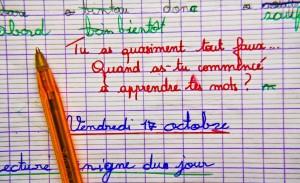 Cahier de grammaire d un écolier, Sarthe, mars 2016. SIPA. 00749347_000010
