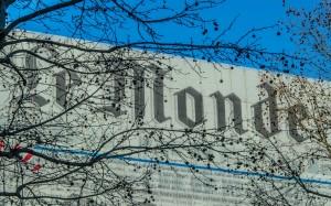 La modeste façade de l'immeuble du journal Le Monde à Paris, janvier 2015. SIPA. 00701325_000004