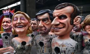 Caricatures géantes des candidats à la présidentielle en préparation pour le carnaval de Nice, janvier 2017. SIPA. 00790880_000012