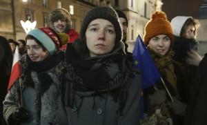 Manifestation étudiante en faveur de liens plus étroits entre la Pologne et l'Union européenne, janvier 2017. SIPA. AP22005235_000006