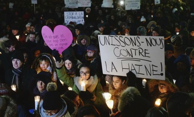 Manifestation de soutien aux victimes de l'attentat contre une mosquée de Québec, à Montréal, janvier 2017. SIPA. AP22007645_000005
