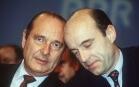Jacques Chirac et Alain Juppé lors d'un meeting du RPR à Neuilly en 1992. SIPA. 00217608_000002