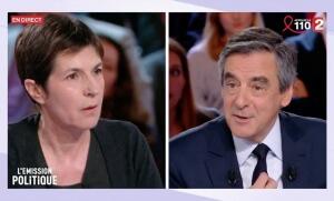 Christine Angot et François Fillon sur le plateau de L'Emission politique de France 2, 23 mars 2017.