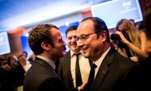 Emmanuel Macron et François Hollande au diner du Crif, février 2017. SIPA. 00794702_000008