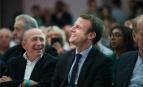 Emmanuel Macron aux côtés de Gérard Collomb, maire de Lyon, à un rassemblement du mouvement En Marche !, Paris, 5 novembre 2016.