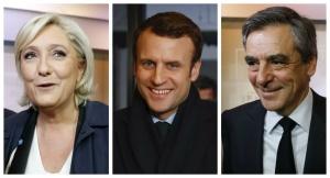 Marine Le Pen, Emmanuel Macron et François Fillon. Photos: mars 2017. SIPA. AP22029732_000018 / AP22029732_000017 /  AP22029732_000016