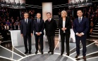 François Fillon, Emmanuel Macron, Jean-Luc Mélenchon, Marine Le Pen et Benoît Hamon lors du premier débat télévisé de la campagne présidentielle. Photo: Patrick Kovarik