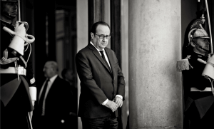 François Hollande sur le perron de l'Elysée, avril 2017. SIPA. 00802106_000012