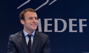 Emmanuel Macron au siège du Medef, février 2016. SIPA. 00742927_000034